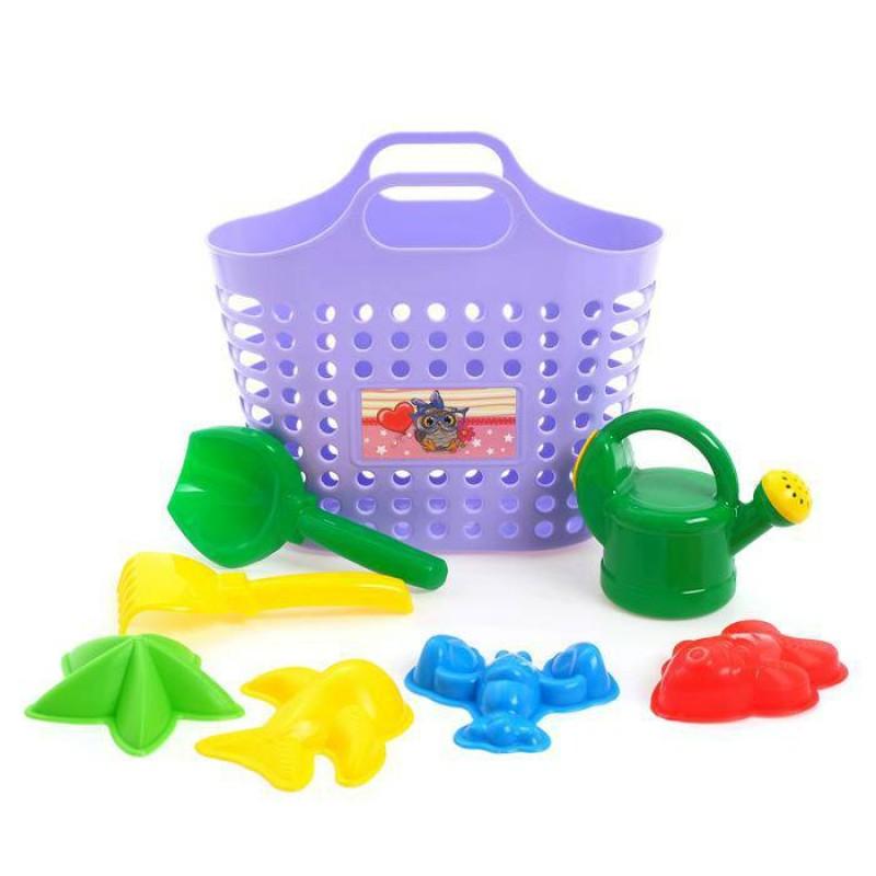 Песочный набор из 8 предметов: сумка-корзина, лейка-мини 0,5 Л, совок L16см. грабли, формочки 4 шт. Фиолетовый