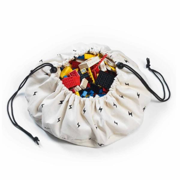 2 в 1: мини-мешок (40 см) для хранения игрушек и игровой коврик Play&Go. Принт молния.