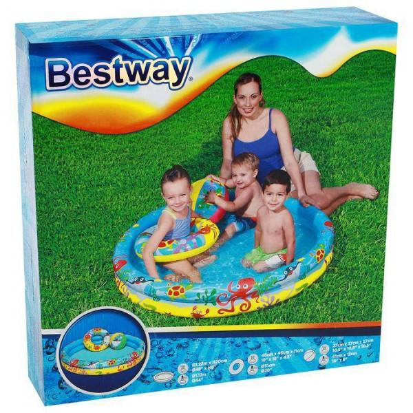 Бассейн надувной Рыбки, 3 предмета: бассейн, мяч, круг, 122 х 20 см, от 2 лет, 51124 Bestway