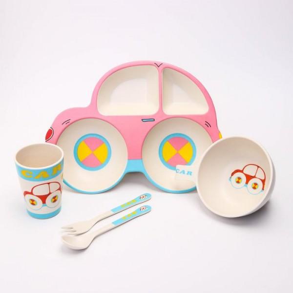 Набор бамбуковой посуды Машинка, тарелка, миска, стакан, приборы, 5 предметов