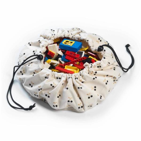 2 в 1: мини-мешок (40 см) для хранения игрушек и игровой коврик Play&Go. Принт вишенка.