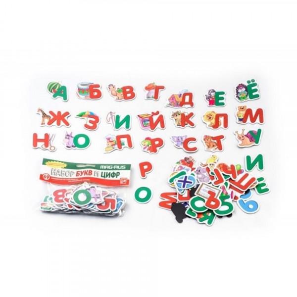 MAG-RUS Иллюстрированная азбука: буквы, цифры, знаки (69 эл.) ( в пакете )
