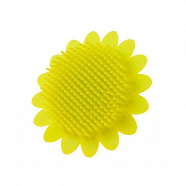 Губка для тела силиконовая (подсолнух). Цвет: салатовый