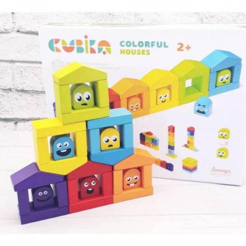 CUBIKA. Деревянная игрушка Конструктор Цветные домики