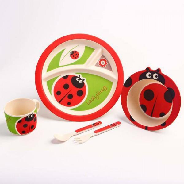 Набор бамбуковой посуды Божья коровка, тарелка, миска, кружка, приборы, 5 предметов