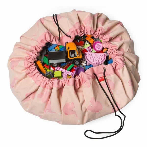 2 в 1: мешок для хранения игрушек и игровой коврик Play&Go. Коллекция Designer. Розовый слон.