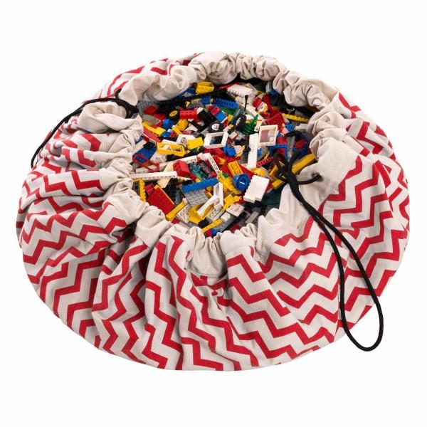 2 в 1: мешок для хранения игрушек и игровой коврик Play&Go. Коллекция Print. Красный зигзаг.