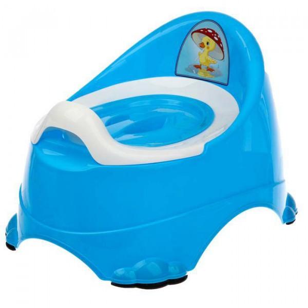 Горшок детский антискользящий Бэйби-Комфорт с крышкой, съёмная чаша, цвет голубой