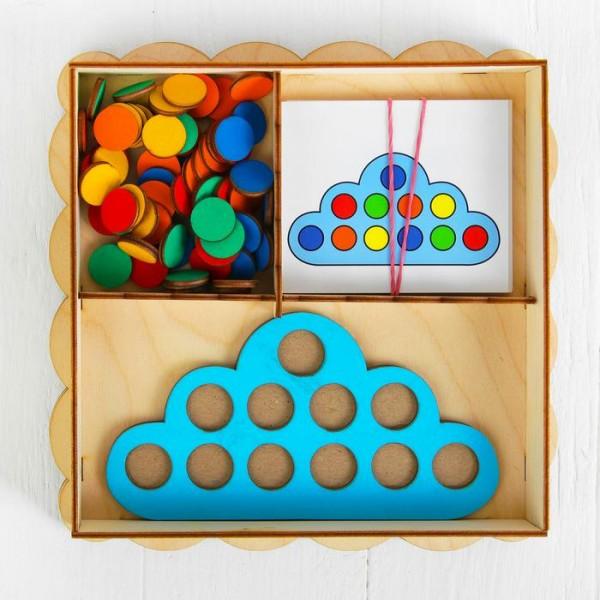Развивающая игрушка Умное облачко, d кружков (60 шт.): 2 см, в наборе 15 карточек