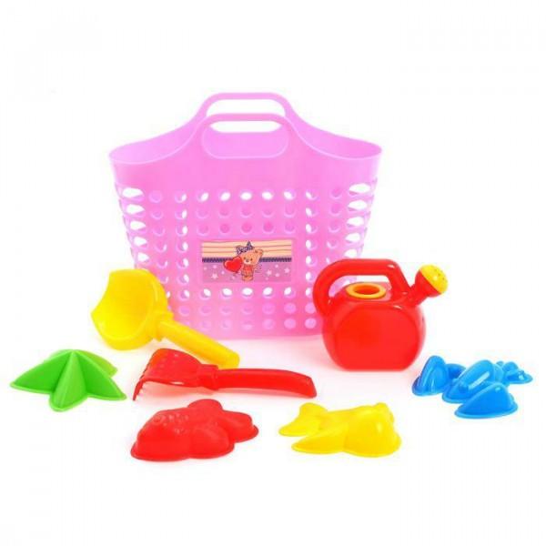 Песочный набор из 8 предметов: сумка-корзина, лейка-мини 0,5 Л, совок L16см. грабли, формочки 4 шт. Розовый