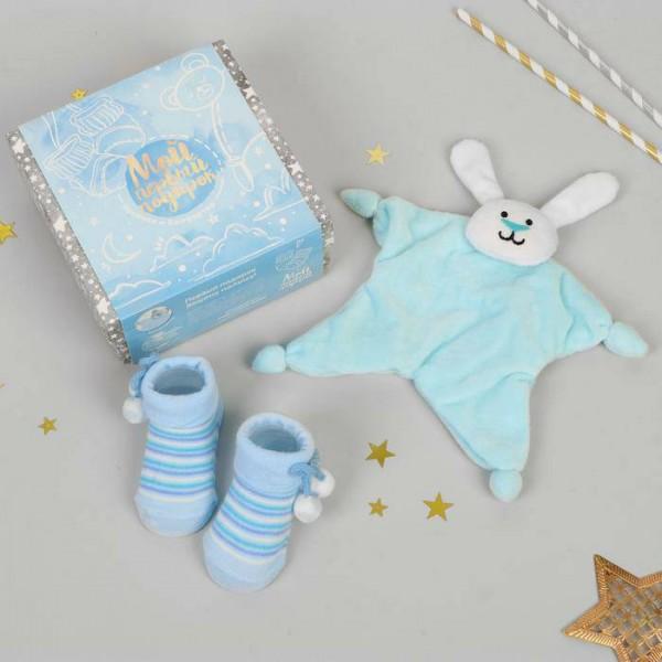 Игрушка для новорождённых Мой первый подарок, пинетки, зайчик
