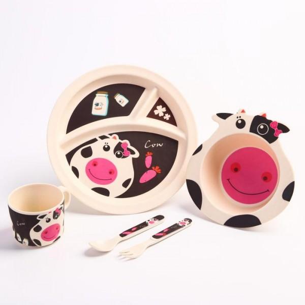 Набор бамбуковой посуды Коровка,тарелка, миска, кружка, приборы, 5 предметов
