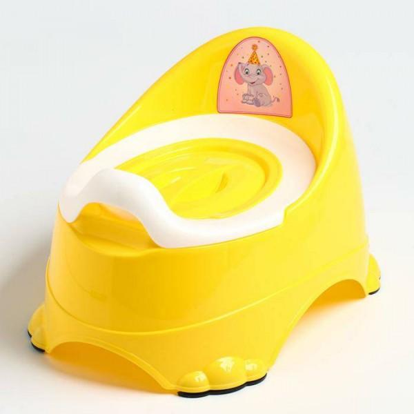 Горшок детский антискользящий Бэйби-Комфорт с крышкой, съёмная чаша, цвет жёлтый