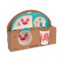 Набор детской посуды из бамбука Морские жители, 5 предметов: тарелка, миска, стакан, столовые приборы 3860783
