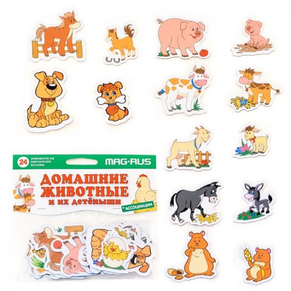 MAG-RUS Набор домашние животные и их детеныши. ассоциации. Картон, магнит (24 эл-та)