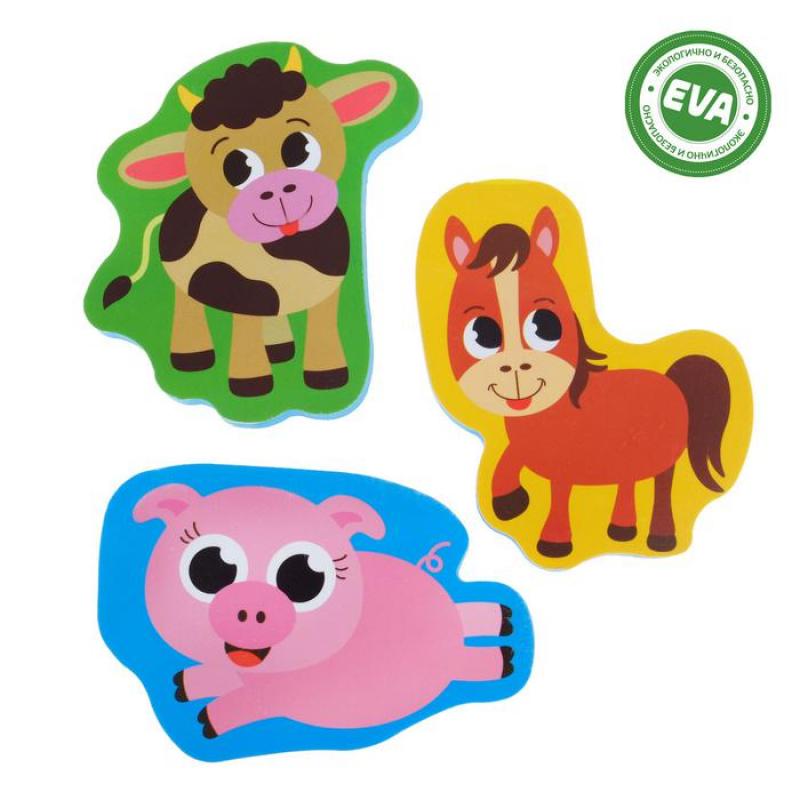 Набор игрушек для ванны Ферма: фигурки-стикеры из EVA, 3 шт.
