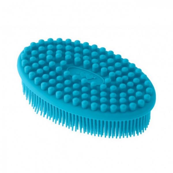 Губка для тела силиконовая (овал). Цвет: голубой