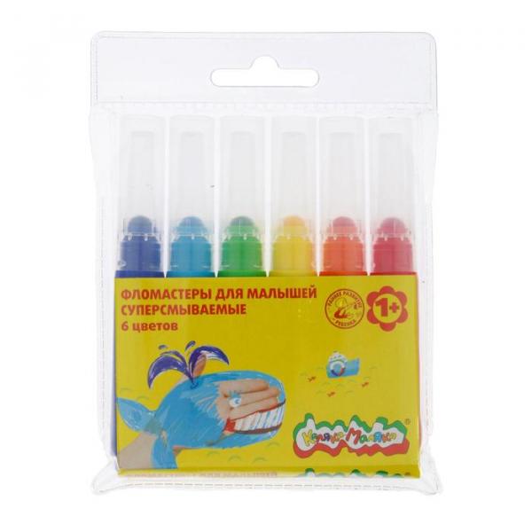 Фломастеры Maxi 6цв Каляка-Маляка суперсмываемые для малышей блист/футляр