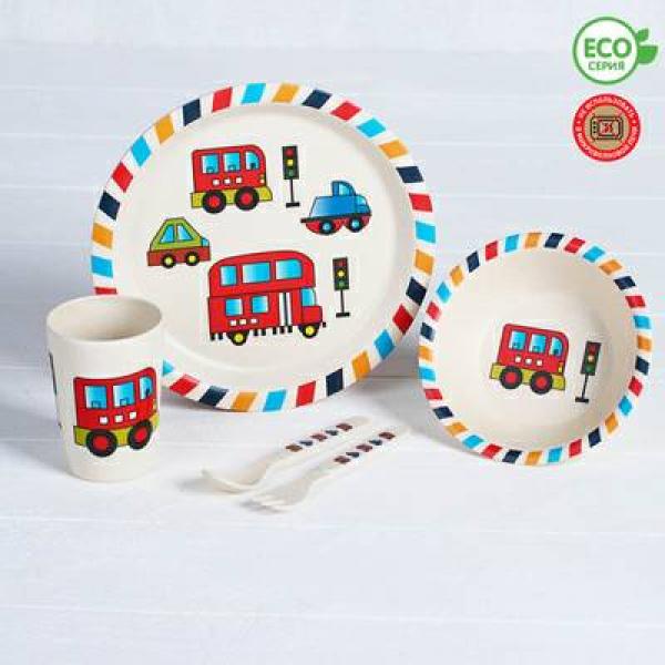Набор бамбуковой посуды Машинки - Красный автобус,тарелка, миска, стакан, приборы, 5 предметов