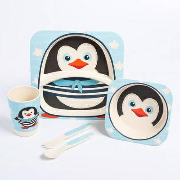 Набор бамбуковой посуды Пингвинчик, тарелка, миска, стакан, приборы, 5 предметов