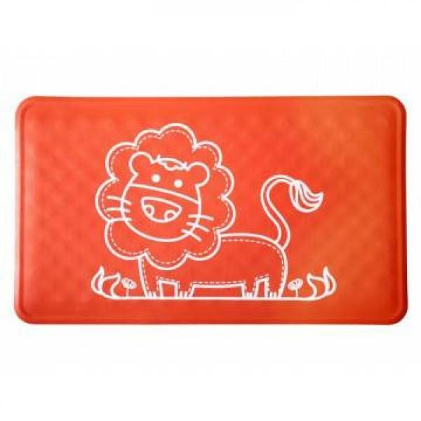 Антискользящий резиновый коврик для ванны ROXY-KIDS (34х58см). Цвет красный. (Лев)