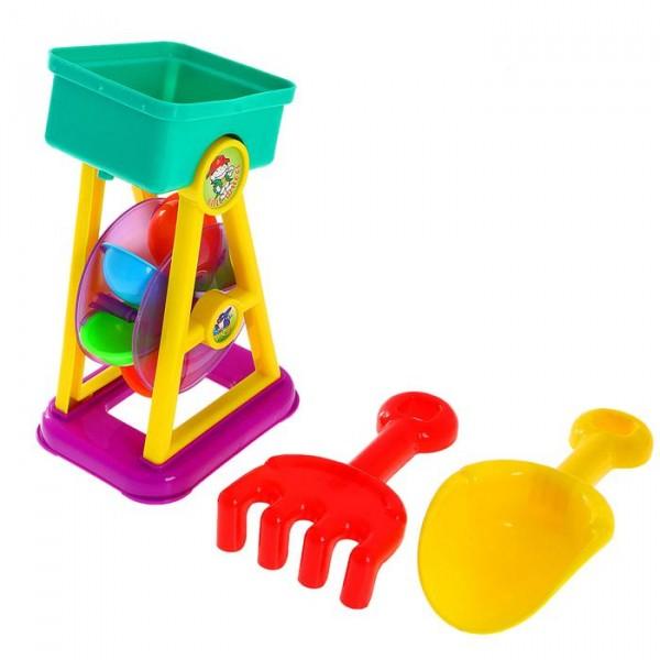 Песочный набор Мельница 3 предмета: мельница, грабли, совок