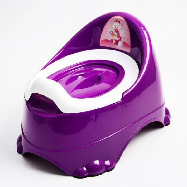 Горшок детский антискользящий Бэйби-Комфорт с крышкой, съёмная чаша, цвет фиолетовый