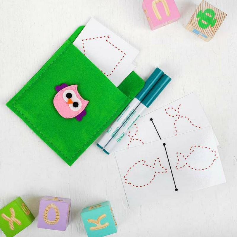 Многоразовые ламинированные карточки для рисования двумя руками , маркеры: 2 шт.